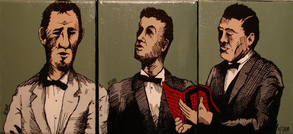 """""""Three Singers"""" (SOLD) Acrylic + Ink tryptic - each 8""""x10"""""""