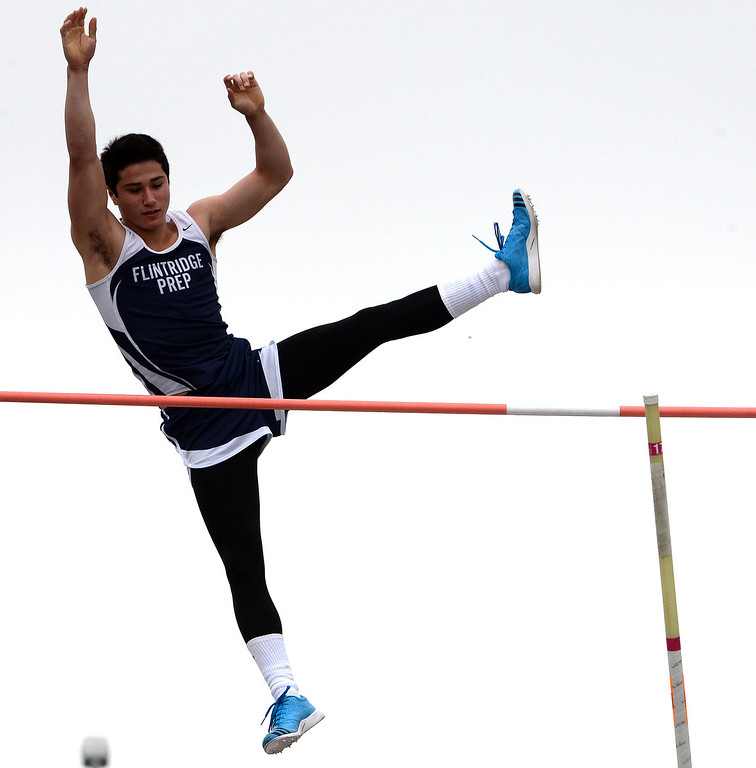 . Flintridge Prep\'s Gareth Weiss competes in the pole vault during the CIF Southern Section track and final Championships at Cerritos College in Norwalk, Calif., on Saturday, May 24, 2014.   (Keith Birmingham/Pasadena Star-News)