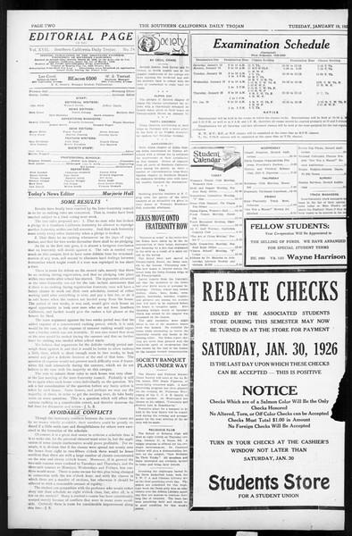 Daily Trojan, Vol. 17, No. 74, January 19, 1926