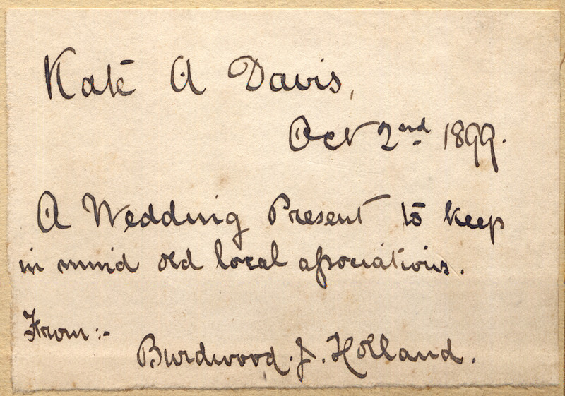 Inscription of a small book of photographs of Spaldwick taken by Rev Holland. Provided by Elizabeth Smith