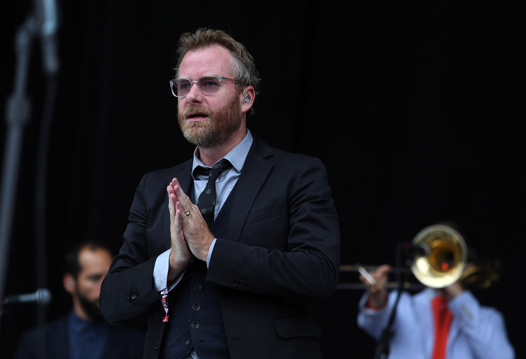 . The National Matt Berninger gives thanks to the crowd while performing on the Land\'s End stage during the 6th annual Outside Lands Music and Arts Festival in Golden Gate Park in San Francisco, Calif., on Friday, Aug. 9, 2013.  (Jane Tyska/Bay Area News Group)