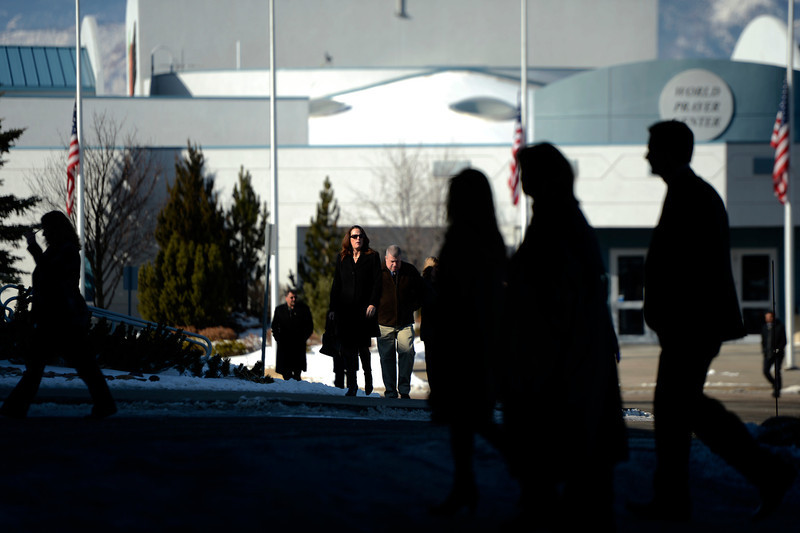 . Mourners arrive at the public memorial service for Tom Clements at the New Life Church in Colorado Springs. March 25, 2013 Colorado Springs, Colorado. (Photo By Joe Amon/The Denver Post)