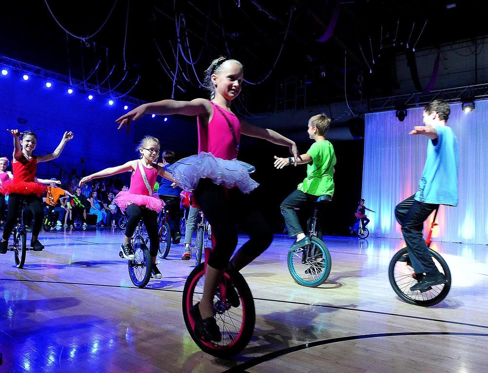 . Children ride unicycles during the Great Y Circus in Redlands May 3, 2013.  GABRIEL LUIS ACOSTA/STAFF PHOTOGRAPHER.