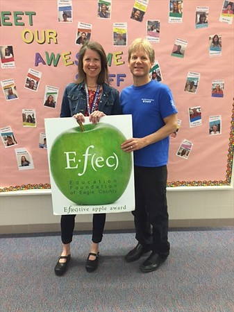 April 2016 Winner: Amy Rogers with principal Dr. Roy Getchell