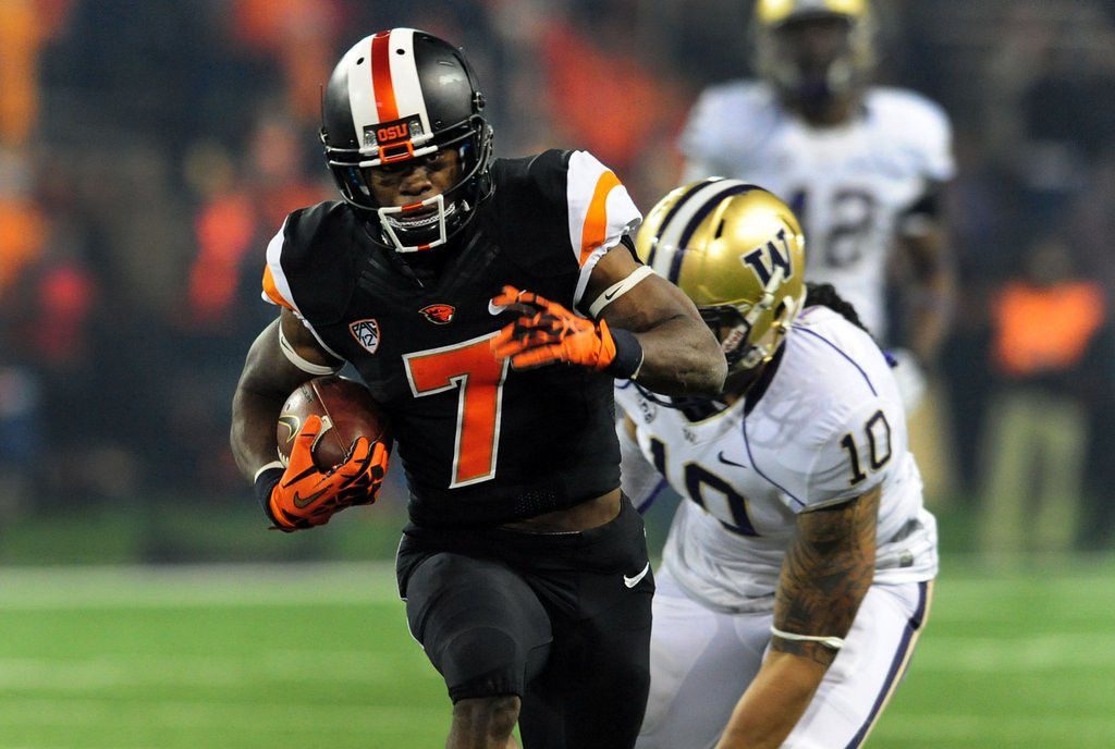 """. <p><b>22. Philadelphia: Brandin Cooks, WR, Oregon State. </b> <p>Cooks has said he could \""""do it better\'\' for the Eagles than what recently released DeSean Jackson accomplished. If he doesn\'t, Philly fans will let him have it.  (Steve Dykes/Getty Images)"""