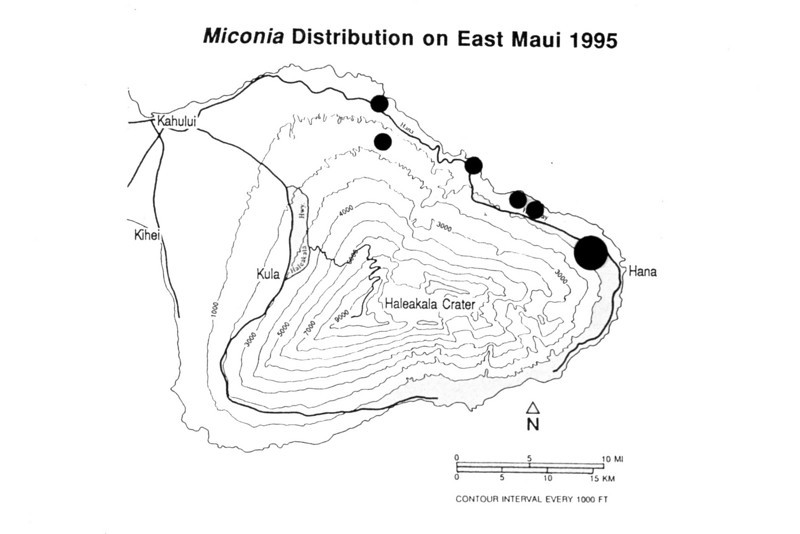 This map closeup shows locations of the Maui populations.  (photoID: bhg000319)