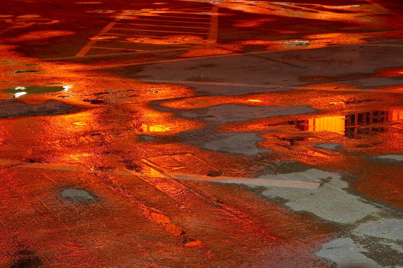 Orange light reflections on Treasure Island