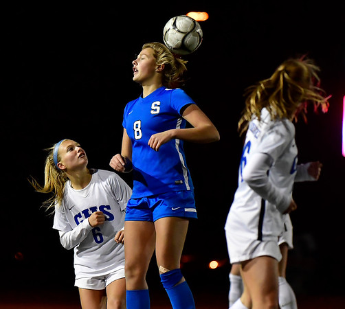 11/23/2019 Mike Orazzi | StaffrSouthington High Schools Allison Carr (8) and Glastonbury's Mackenzie Baker (6) during the Class LL Girls State Soccer Tournament at Veterans Stadium in New Britain Saturday evening. Glastonbury won 1-0. r