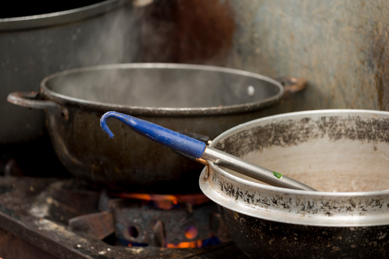 Noodles being cooked on stove, Dongdaemun Market, Seoul, South Korea