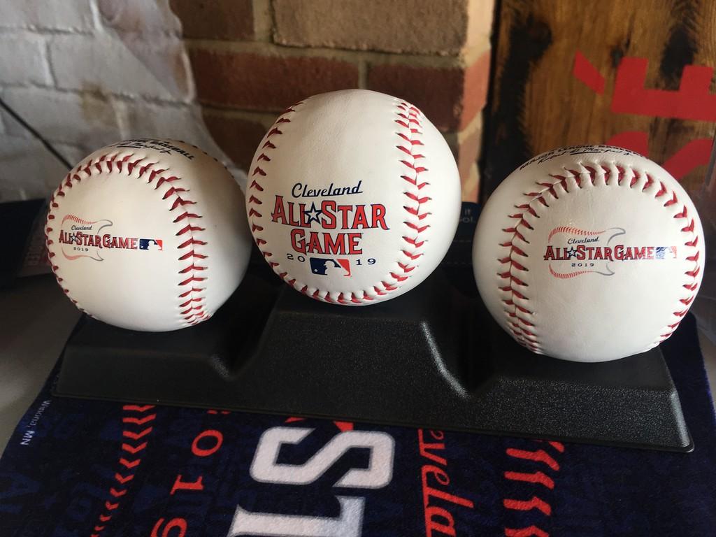 . 2019 All-Star Game souvenir baseballs. (David S. Glasier - The News-Herald)