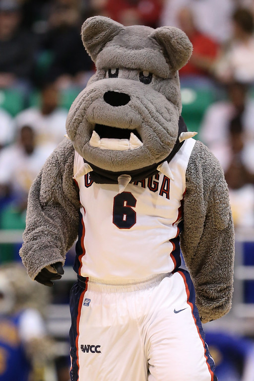 . SALT LAKE CITY, UT - MARCH 21:  The Gonzaga Bulldogs mascot performs on the court while taking on the Southern University Jaguars during the second round of the 2013 NCAA Men\'s Basketball Tournament at EnergySolutions Arena on March 21, 2013 in Salt Lake City, Utah.  (Photo by Streeter Lecka/Getty Images)