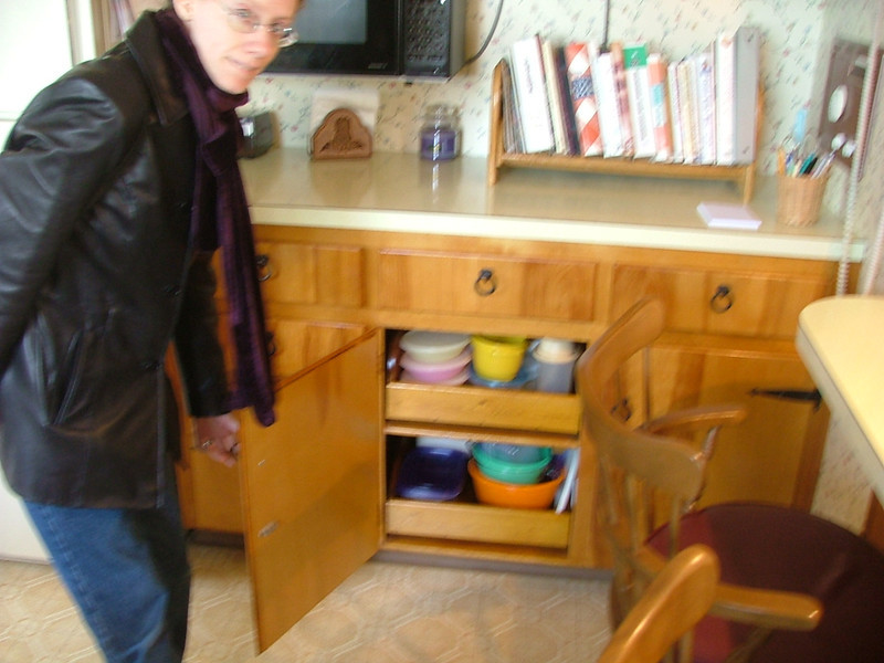 carolyn models the cabinet drawers