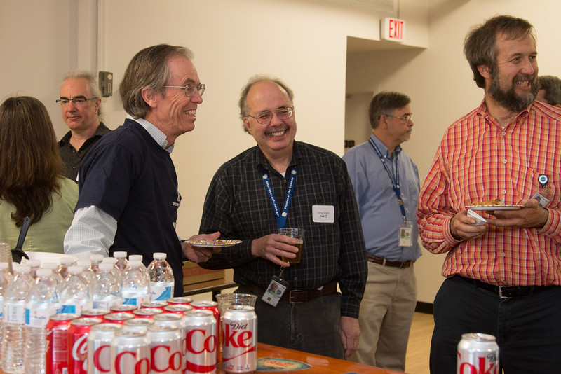 From left: Padi Boyd (back to camera), Alan Smale, Frank Marshall, Steve Drake, Mike Corcoran (background), and Hans Krimm -- Swift spacecraft 10th anniversary party, held at the newly renovated GSFC Recreation Center, NASA/GSFC (November 24, 2014)