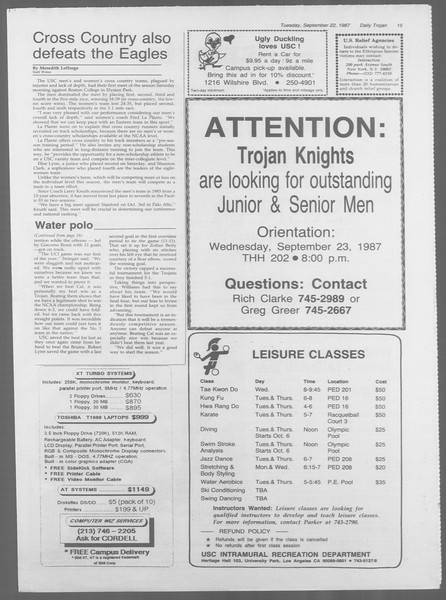 Daily Trojan, Vol. 105, No. 14, September 22, 1987