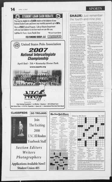 Daily Trojan, Vol. 160, No. 51, April 04, 2007
