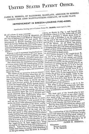 32032 - Improvement in Breech-Loading Firearms, assigned to the Merrill Patent Firearms Mfg Co (March 26, 1861)