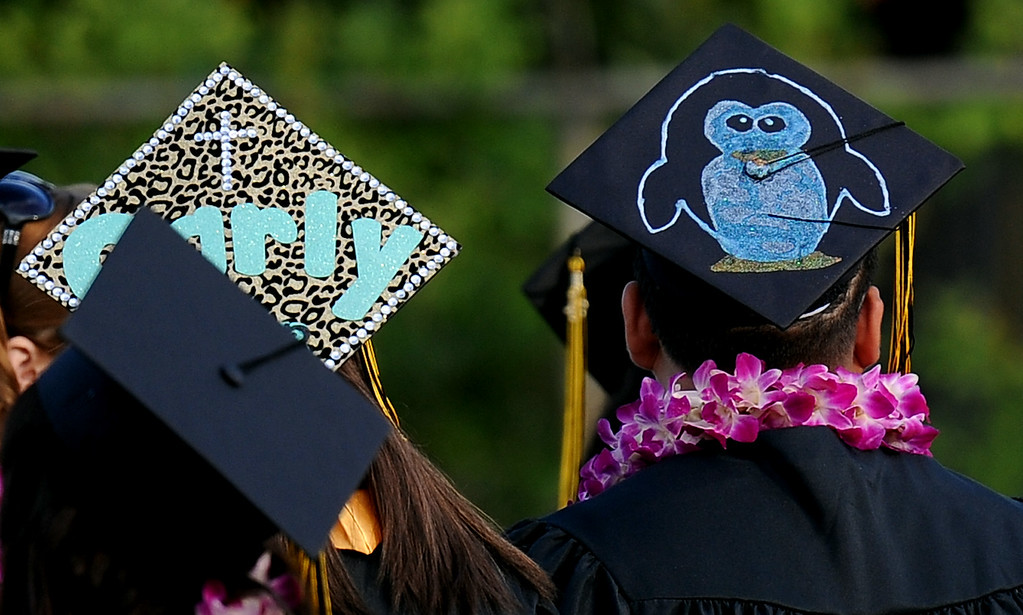 . One of the many decorated hats during the Northview High School commencement at Covina District Field on Tuesday, June 11, 2013 in Covina, Calif.  (Keith Birmingham/Pasadena Star-News)