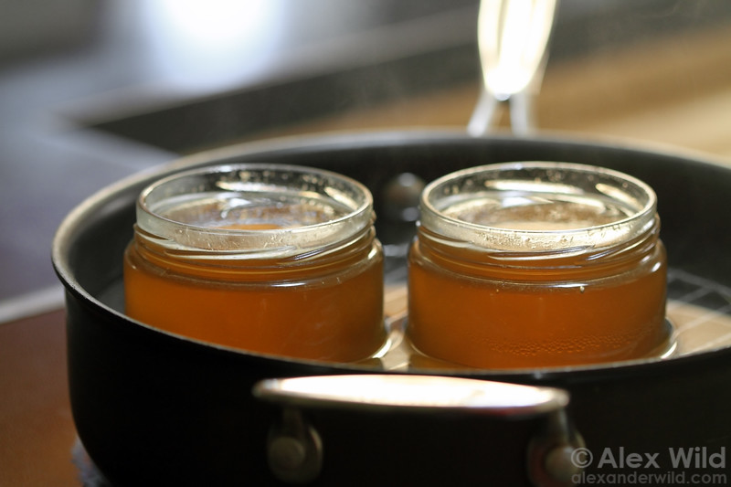 Crystallized honey can be made clear again by heating in a warm water bath.
