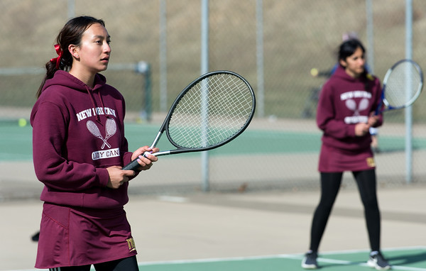 04/02/19 Wesley Bunnell | Staff New Britain girls tennis took on Wilcox Tech in their first matches of the season on Tuesday afternoon. Yajaira Asimbaya, L and Damya Albosalni compete in doubles.