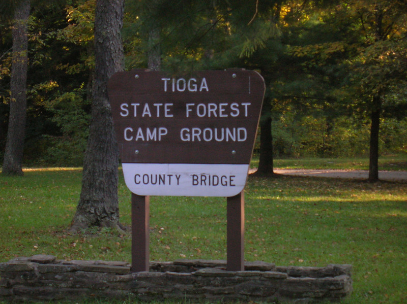 Free camping at the County Bridge Campground along the Tioga River