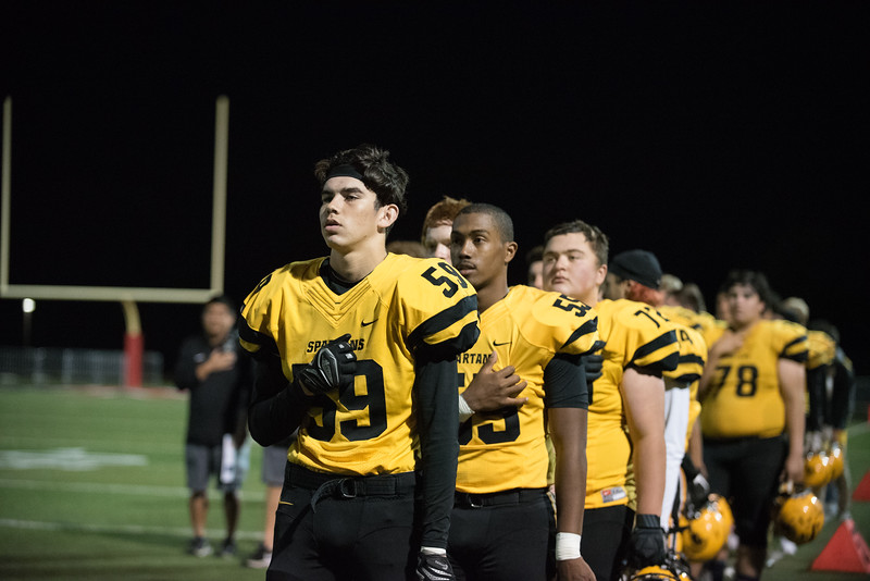 Taken during Varsity Football game between MVHS Spartans and Gunn Titans at Gunn High School on Friday November 10th  2017