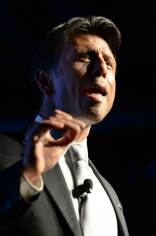 . DENVER, CO - JULY 18: Louisiana Gov. Bobby Jindal took the stage as the Western Conservative Summit kicked off Friday night, July 18, 2014 in Denver. The weekend gathering of conservative voters heard remarks from Jindal, Utah Senator Mike Lee and Dr. Ben Carson Friday night. Photo by Karl Gehring/The Denver Post