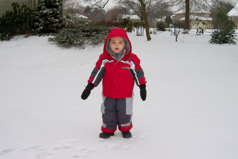 K.C. is ready in his snow suit as he has his first exposure to snow this season.