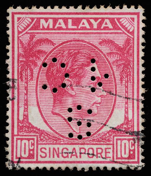 Singapore Municipal Commissioners perfin