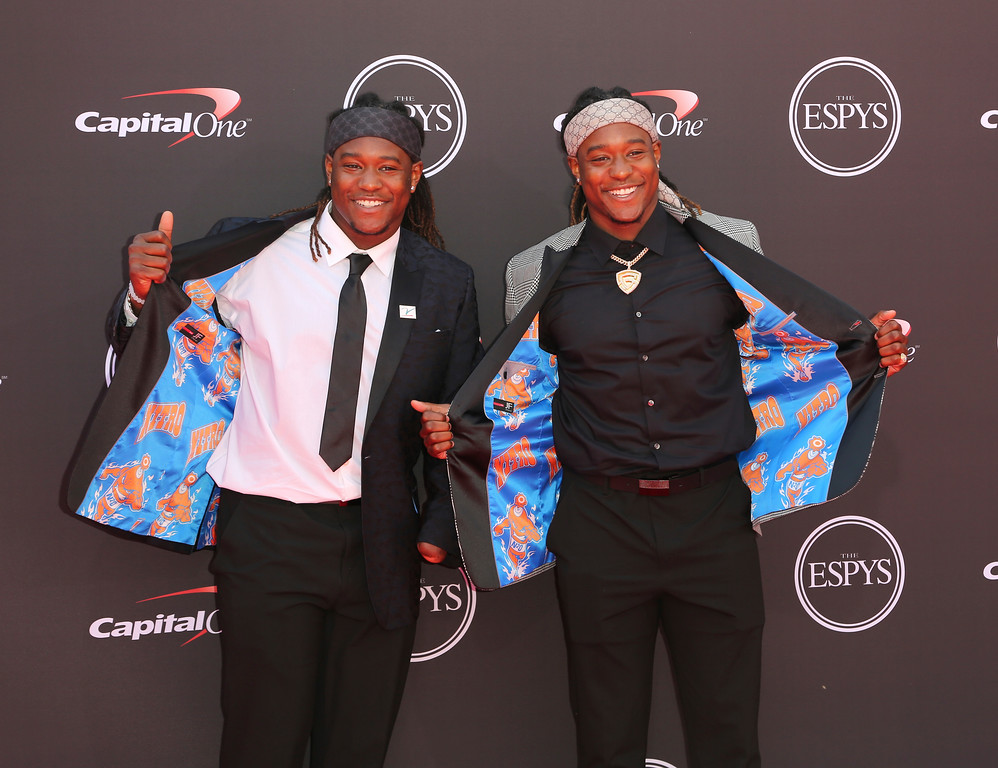 . Seattle Seahawks\' Shaquem Griffin, left, and Shaquill Griffin arrive at the ESPY Awards at Microsoft Theater on Wednesday, July 18, 2018, in Los Angeles. (Photo by Willy Sanjuan/Invision/AP)