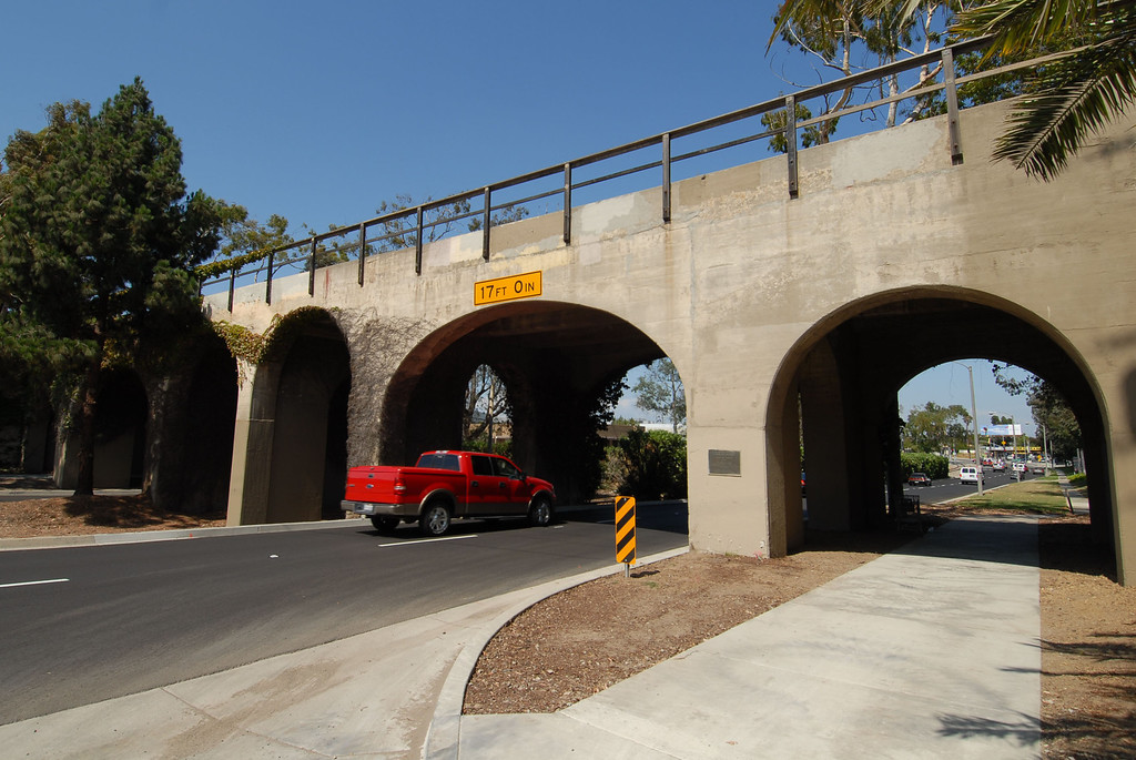 . Photo of the bridge before work in 2011 - The historic railroad bridge over Torrance Boulevard is a prominent landmark for the city; yet, it is unkempt and unlit at night. The city is exploring beautifying it for the centennial. July 29, 2011. Photo by Steve McCrank / Daily Breeze