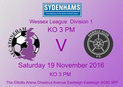 AFC Stoneham (2) Hamble Club (3) 19.11.2016