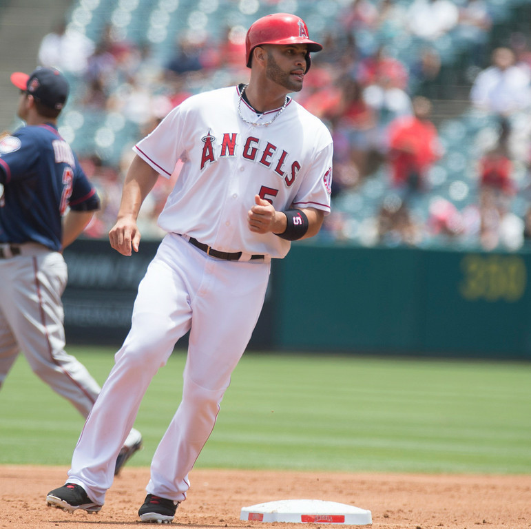 . Angels\' Albert Pujols (#5) steals second base as they play the Minnesota Twins at Angel Stadium in Anaheim on Thursday June 26, 2014. (Photo by Keith Durflinger/Whittier Daily News)