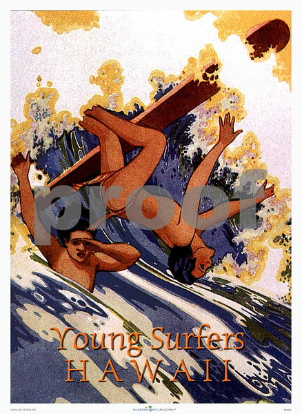 166: 'Young Surfers Hawaii' Art Print, Original ca 1936. (PROOF watermark will not appear on your print)