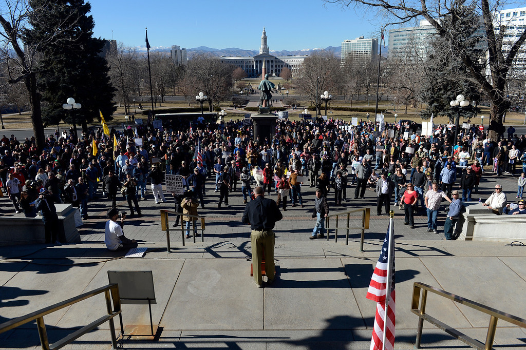 . DENVER, CO. - JANUARY  19: Pro gun supporter, Don Dobyns, speaks to nearly 1000 pro gun rights supporters rally at the Colorado State Capitol Saturday afternoon, January 19th, 2013.  (Photo By Andy Cross / The Denver Post)