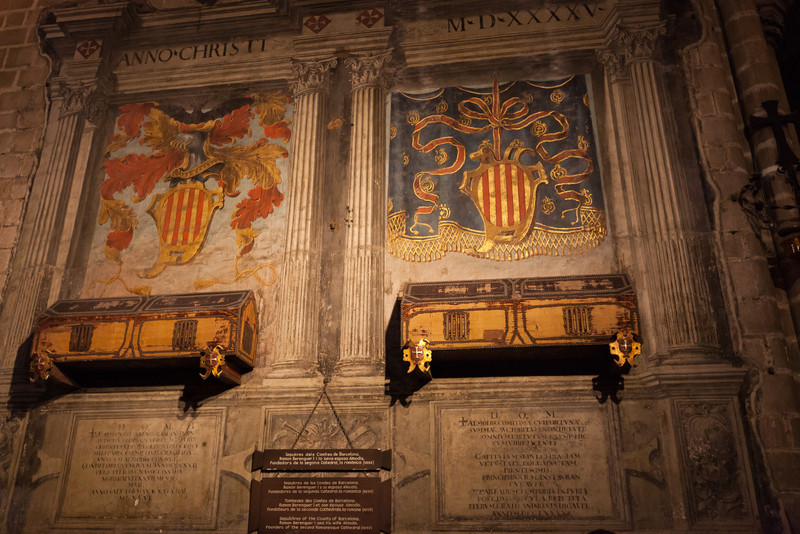 Catalunya's coat of arms, as well as coffins of two powerful Counts of Barcelona from the 11th century.