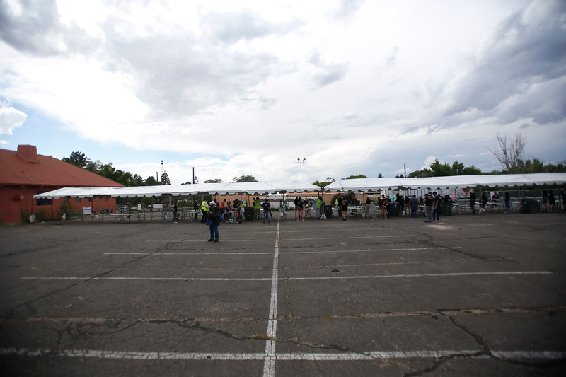 The security check point behind the Scottish Rite Temple for the 94th Annual Burning of Zozobra at Ft. Marcy Park on Friday, August 31, 2018. Luis Sanchez Saturno/The New Mexican  Lourdes Goelitz, Loveland, CO, take her umbrella out to leave at the entrance after Roberto Ramirez, with Lynq Security, told her her that she was not allowed to bring in her large umbrella on Friday, August 31, 2018. Luis Sanchez Saturno/The New Mexican  Angelina Tapia, 3, of Santa Fe, gets scanned by Joyce Aragon, with Schimmel Security, at the security checkpoint for the 94th annual Zozobra on Friday August 31, 2018. Luis Sanchez Saturo/The New Mexican  Susie Romero of Santa Fe gets her face painted by Mark Trujillo, owner of Mark Trujillo Designs, at Ft Marcy Park on Friday, August 31, 2018.   Sam Peters, 16, and His sister Sarah Peters, 5, shoot each other with a bubble gun at Ft. Marcy Park on Friday, August 31, 2018. Luis Sanchez Saturno/The New Mexican  People slowly trickle in to Fort Marcy park for the 94th burning of Zozobra on Friday, August 31, 2018. Luis Sanchez Saturno/The New Mexican  Steven Tenorio of Albuquerque dances with his wife Joanna Tenorio to the sounds of Al Hurricane Jr. at Ft. Marcy Park during the 94th burning of Zozobra on Friday August 31, 2018. Luis Sanchez Saturno/The New Mexican  Zozobra awaits his final fate at Ft. Marcy Park during the 94th burning of Zozobra on Friday August 31, 2018. Luis Sanchez Saturno/The New Mexican  The crowd gathers underneath Zozobra for the 94th burning in Fort Worth on Friday, August 31, 2018. Luis Sanchez Saturno/The New Mexican  People with Del Norte Credit Union throw stress balls to the crowd during the 94th burning of Zozobra at Fort Marcy Park on Friday, August 31, 2018. Luis Sanchez Saturno/The New Mexican  Don Diego and La Reina dance under Zozobra during the 94th burning at Fort MShananaarcy Park on Friday, August 31, 2018. Luis Sanchez Saturno/The New Mexican  Tyra Lovato, 14, of Laguna Pueblo, plays with Keyana Eas