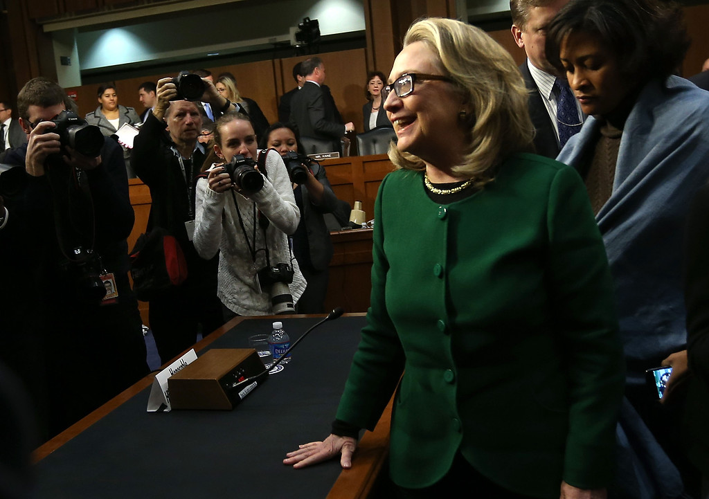 . WASHINGTON, DC - JANUARY 23: U.S. Secretary of State Hillary Clinton leaves after testifying before the Senate Foreign Relations Committee on Capitol Hill January 23, 2013 in Washington, DC. Lawmakers questioned Clinton about the security failures during the September 11 attacks against the U.S. mission in Benghazi, Libya, that led to the death of four Americans, including U.S. Ambassador Christopher Stevens. (Photo by Alex Wong/Getty Images)
