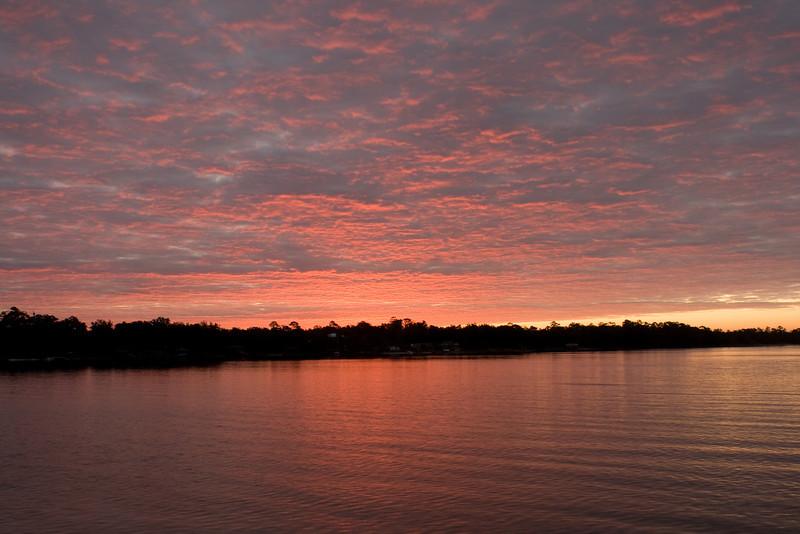 Sunrise on Bayshore Drive in Valparaiso, Florida