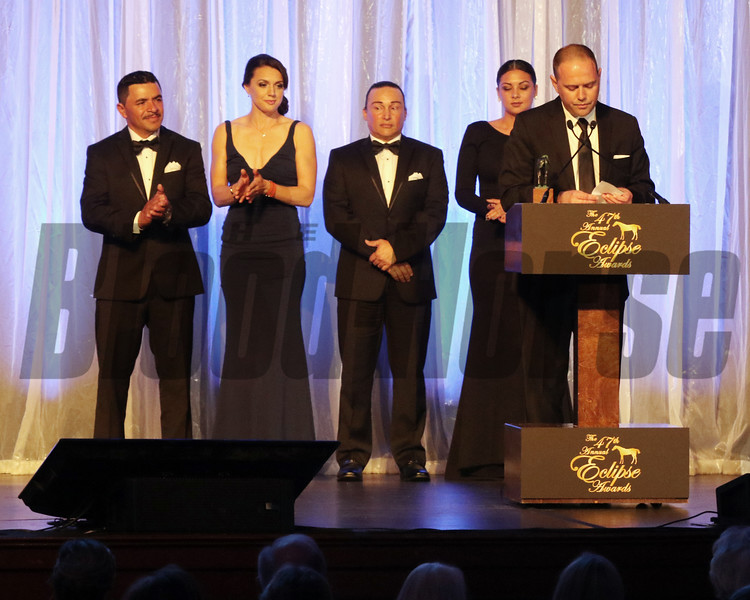 Chad Brown accepts the 2017 Eclipse Award for Outstanding Trainer 2018 , Gulfstream Park