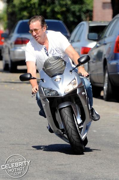 EXC: Tim Allen Pictured On His Honda Racing Motorbike