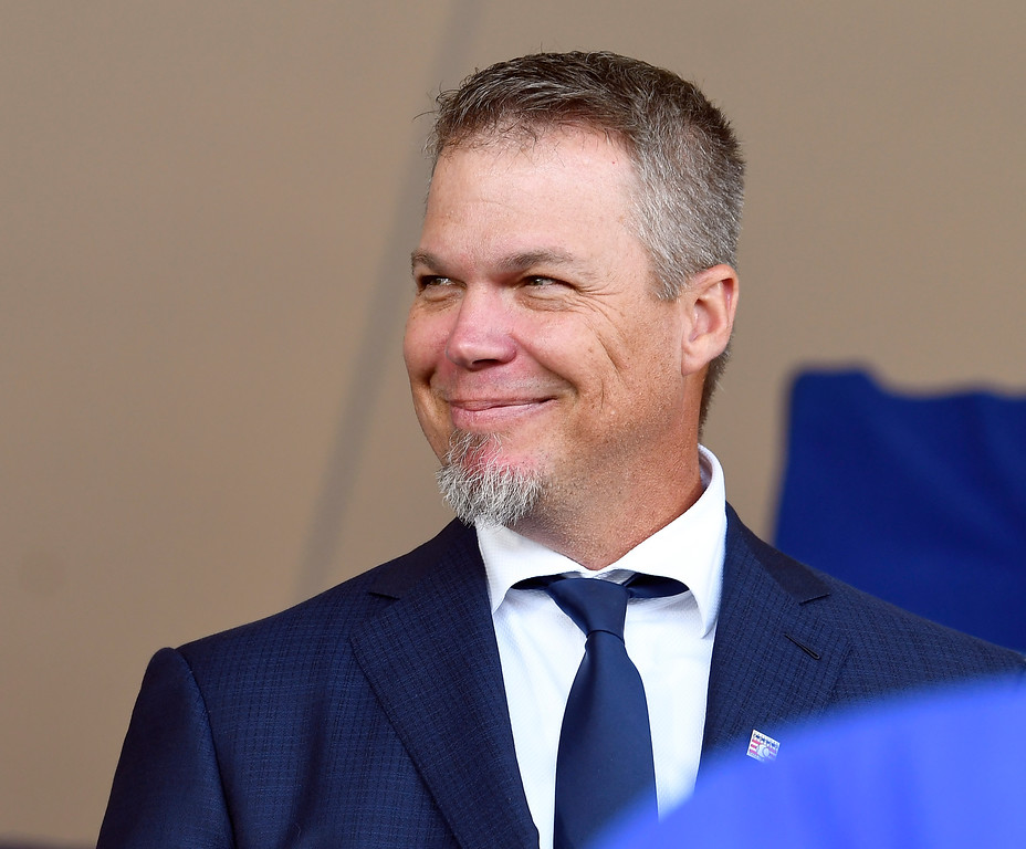 . National Baseball Hall of Fame inductee Chipper Jones is introduced during an induction ceremony at the Clark Sports Center on Sunday, July 29, 2018, in Cooperstown, N.Y. (AP Photo/Hans Pennink)