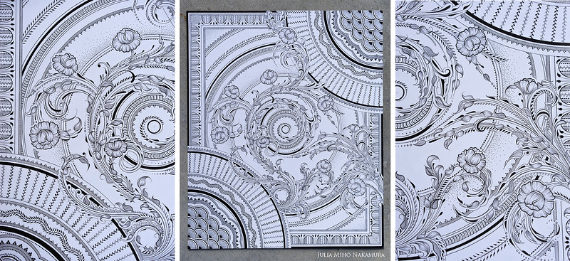 """Feb 6 '16 ~   Done! Approx 55 hours in the making. 14x17""""  Every size of the Pima Micron pens were used to create this piece (0.20mm - 0.50mm for line variation), a ruler, a large & small compass, tracing paper, pencil & eraser & a LOT of focus & patience.  To me, this piece is about life and all its transitions & transformations. It's about the impermanence of it all; the movement through one reality to the next and the experiences of emotion along the way. It's about how each step is only a fleeting moment in time, and a reminder to be grateful and present with the now, as hard as that can sometimes be. It's for my own search for the infinite and the beauty of transformation, even though it may be the most difficult thing to ever experience. Due to a very recent event in my own family, I can find peace & solace in this realization. So in a sense, it has been my teacher & guide, a place where I can connect my experiences and emotions to something tangible in this world, and a reminder that transition will always be a part of this reality. Because someday, we all have to move on. Until then, make the best of what is possible~"""