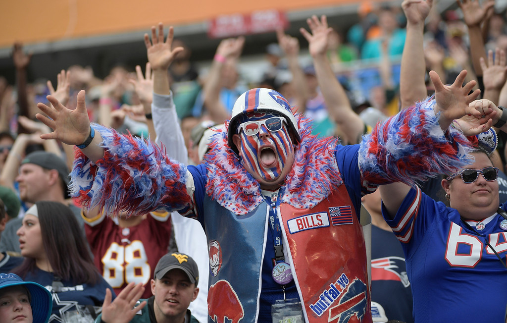 . A Buffalo Bills fan enjoys the game, during the first half of the NFL Pro Bowl football game, Sunday, Jan. 28, 2018, in Orlando, Fla. (AP Photo/Phelan M Ebenhack)
