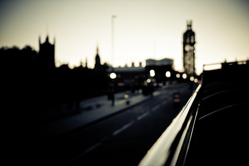 Tour bus on Westminster Bridge