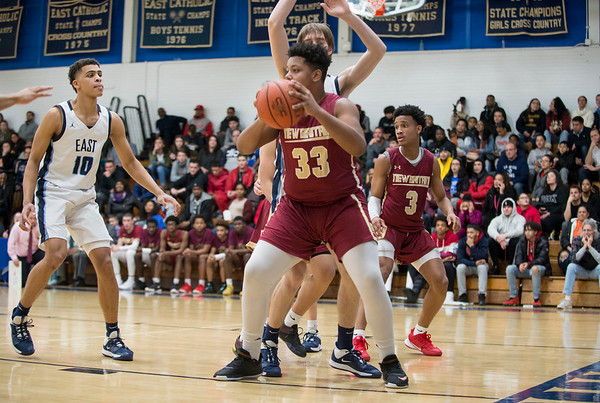 01/17/20 Wesley Bunnell | StaffrrNew Britain boys basketball was defeated at East Catholic on Friday night at East Catholic High School. Dantay Bishop (33).