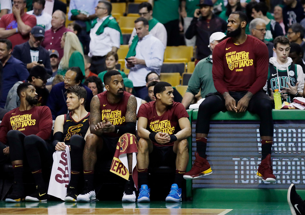 . Cleveland Cavaliers players watch from the bench near the end of Game 5 against the Boston Celtics in the NBA basketball Eastern Conference finals Wednesday, May 23, 2018, in Boston. The Celtics won 96-83. (AP Photo/Charles Krupa)