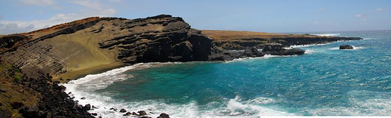 Green Sand Beach Panorama - South Point, Big Island, Hawaii