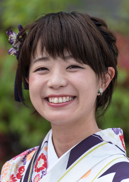 Portrait of Japanese woman dressed in traditional kimono, Tokyo