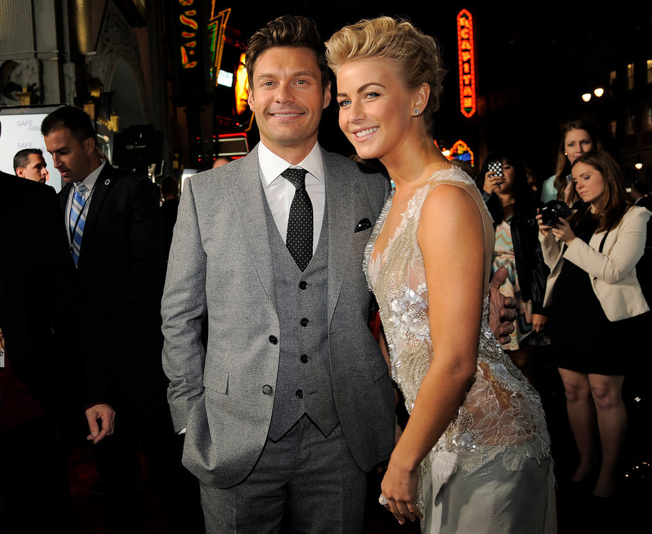". Julianne Hough, right, a cast member in ""Safe Haven,\"" poses with Ryan Seacrest at the U.S. premiere of the film, Tuesday, Feb. 5, 2013, in the Hollywood section of Los Angeles. (Photo by Chris Pizzello/Invision/AP)"
