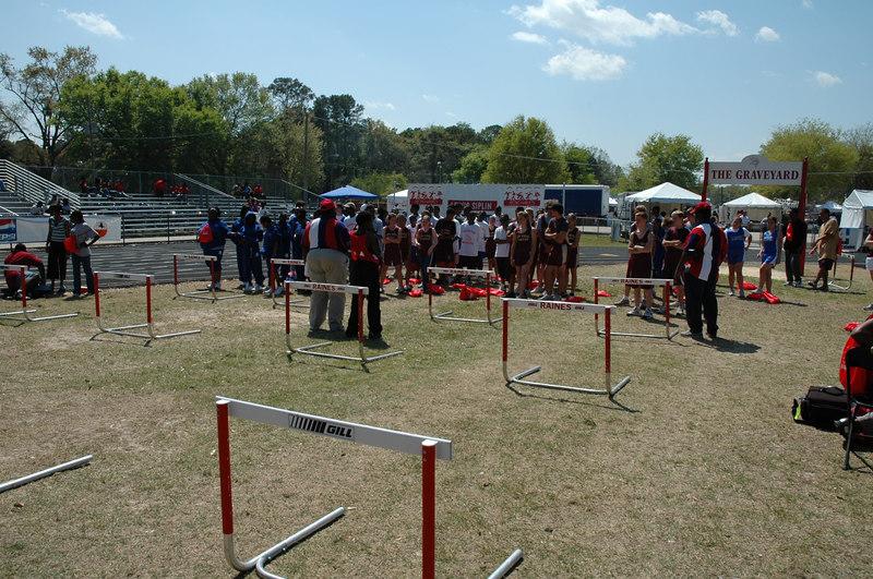 Getting set for hurdle drills.